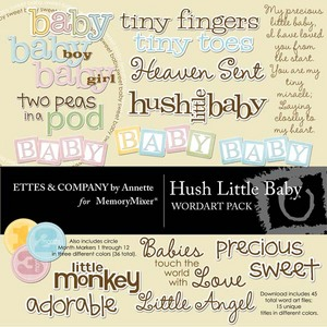 Hush little baby wordart medium