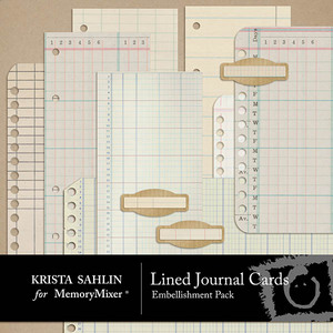 Lined journal card emb medium