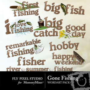 Gone fishing wordart medium