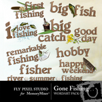 Gone fishing wordart small