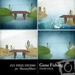 Gone Fishing Paper Pack 2-$1.99 (Fly Pixel Studio)