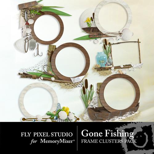 Gone Fishing Frame Cluster Pack Scrapbook Page Design - MemoryMixer& ...
