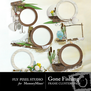 Gone fishing frame clusters medium