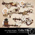 Coffee Time Cluster Pack-$1.99 (Fly Pixel Studio)