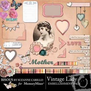 Vintage lady emb medium