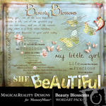 Beauty blossoms wordart small