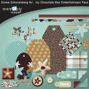 Icy chocolate embelishment pack medium
