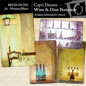 Capri dreams wine and dine postcards emb medium