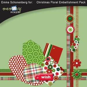 Christmas floral embellishment pack medium