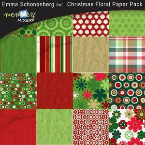 Christmas floral paper pack medium