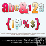 Sandbox Summer Sunny Alphabet Pack-$0.99 (Ettes and Company by Fayette)
