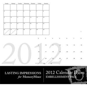 2012 calendar dates medium