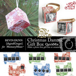 Christmas damask box and ornament qm small