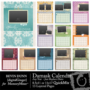 Calendar damask any year qm medium