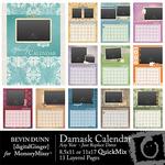 Calendar damask any year qm small