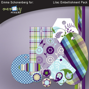 Lilac embellishment pack medium
