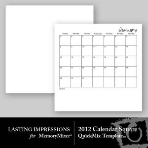 2012 calendar template square medium