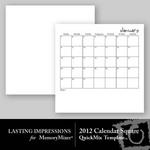 2012 calendar template square small