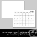 2012 calendar template landscape small