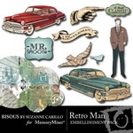 Retro Man Embellishment Pack-$1.99 (Bisous By Suzanne Carillo)