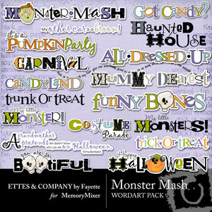 Monster mash wordart medium