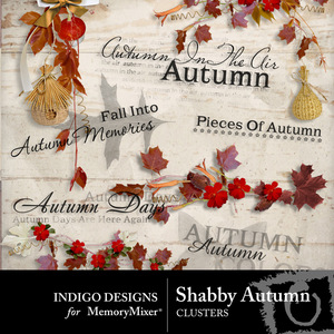 Shabby autumn clusters and wordart medium