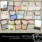 2012 4x6 Pocket Calendar Quick Page QuickMix-$3.99 (Ettes and Company by Fayette)