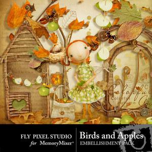 Birds and apples emb medium