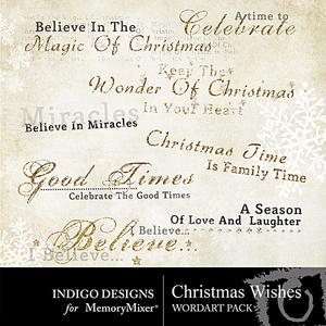 Christmas wishes wordart medium