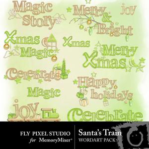 Santa train wordart medium
