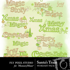 Santa train wordart medium