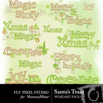 Santa train wordart small