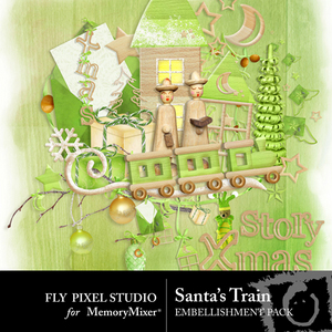Santa train emb medium