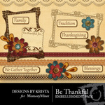 Be Thankful Embellishment Pack-$2.49 (Designs by Krista)