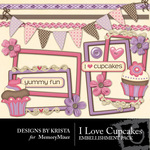 Love Cupcakes Embellishment Pack-$2.49 (Designs by Krista)