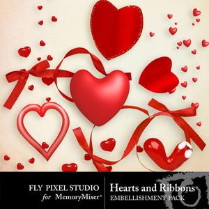 Hearts and ribbons emb medium
