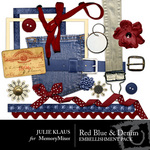 Red Blue Denim Embellishment Pack-$2.99 (Julie Klaus)