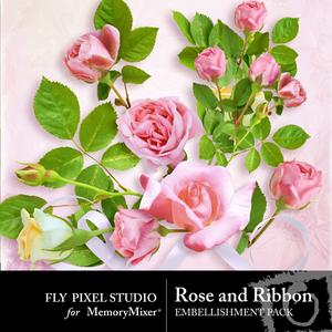 Rose and ribbon emb medium