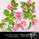 Rose and ribbon emb small