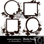 Birds Song Black Frame Pack-$1.99 (Indigo Designs)